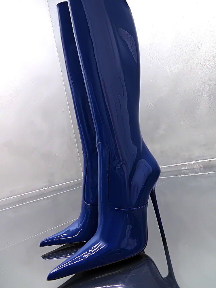 1969 italy leder hohe stiefel high heels e84 boots schuhe. Black Bedroom Furniture Sets. Home Design Ideas