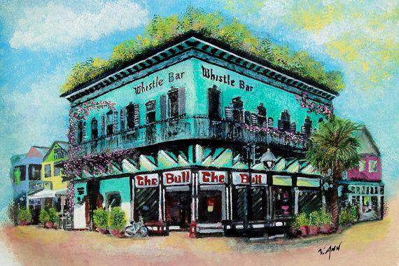 Key West Whistle Bar The Bull Restaurant DIY YOU by V.Ann Originals on Etsy, $7.99