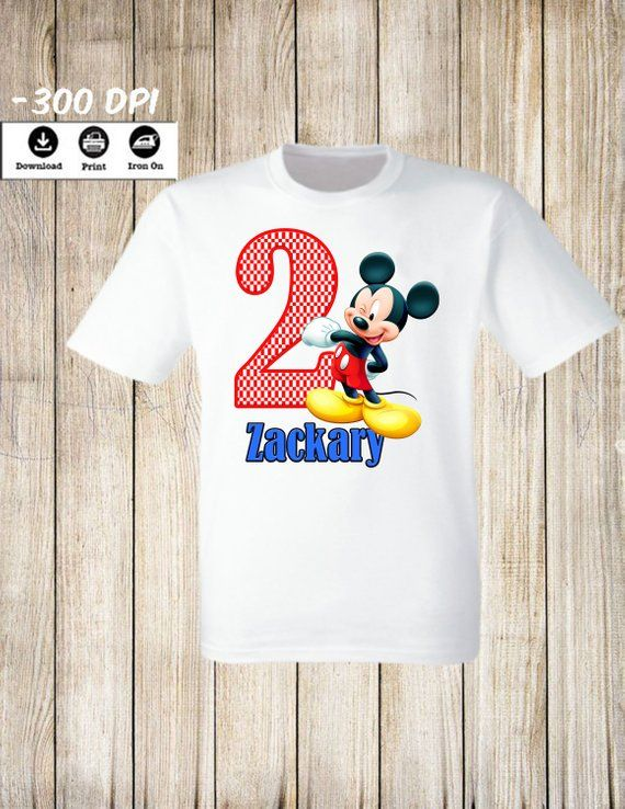 Disney Mickey Mouse Iron On Transfers Birthday Boy Tshirt