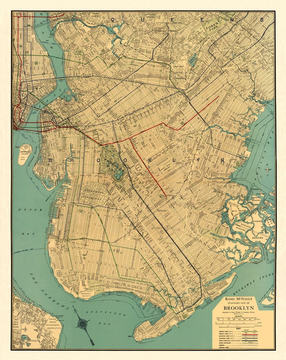 Vintage map of brooklyn the island of treasured maps pinterest brooklyn map old map of brooklyn reproduction old maps restored fine prints part of commercial atlas of america sciox Gallery