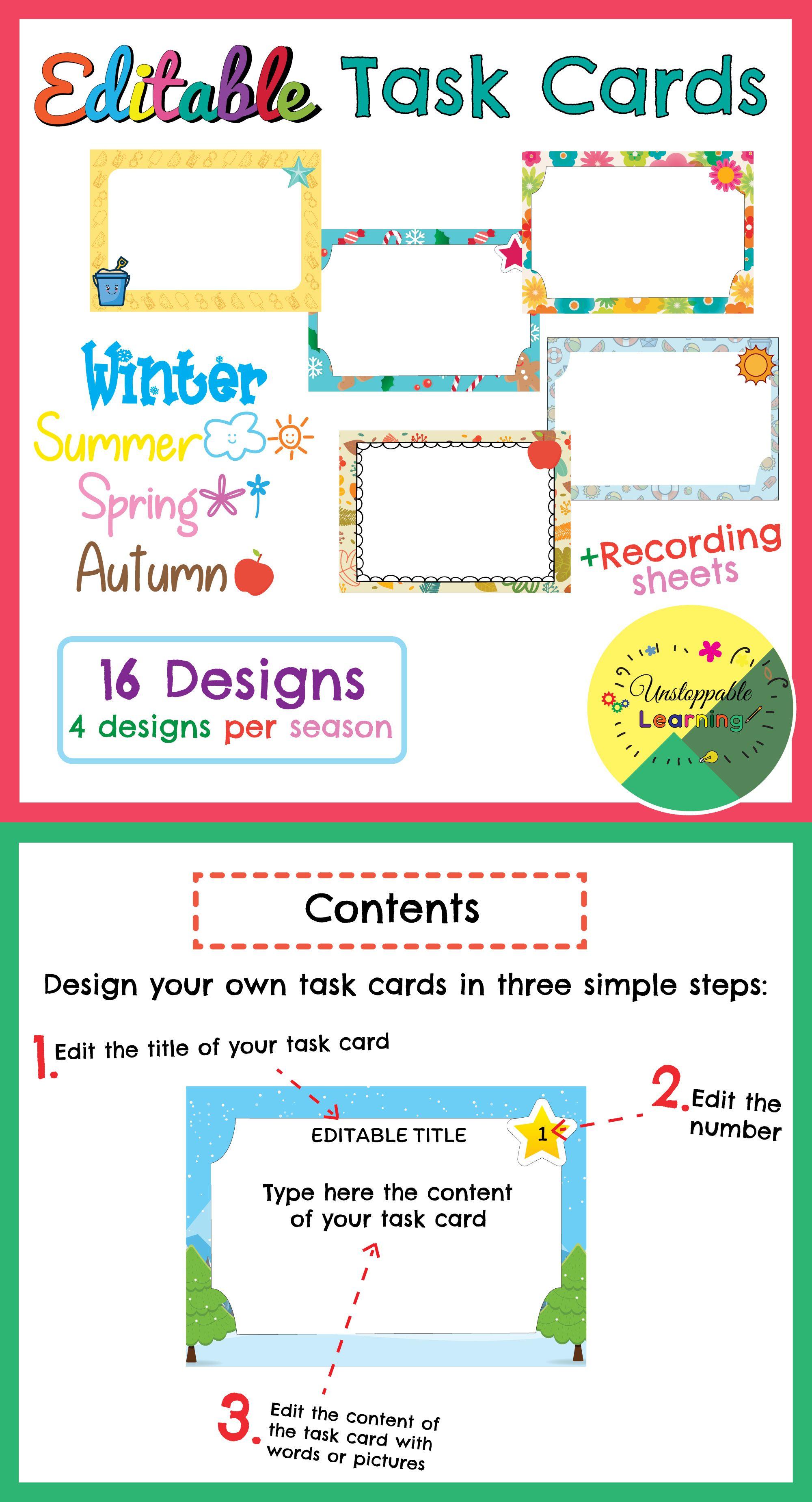 Editable Task Card Templates Seasonal Themed Task Cards Card Template Business Plan Template