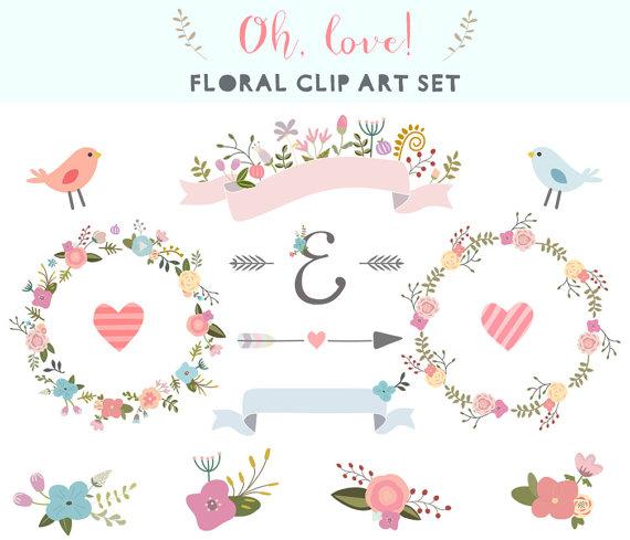 Floral Clipart Clipart Couronne De Grappes De Clipart Fleurs Rubans Fleurs De Mariage Cadre Fleches Mariage Clipart V Clip Art Wedding Clipart Art Set