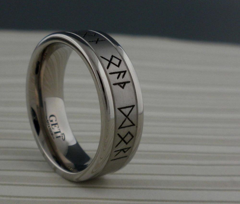 Custom Viking Rune Wedding Ring in Titanium Personalized