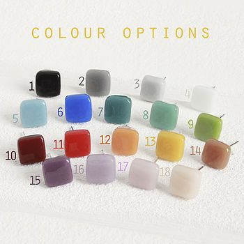 Square Glass Stud Earrings - like 7-9 and 15 - 16 especially!