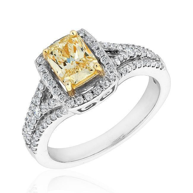 Reeds Jewelers   Natural Canary Yellow Diamond And Diamond Engagement Ring  1 1/2ctw $5,999.95