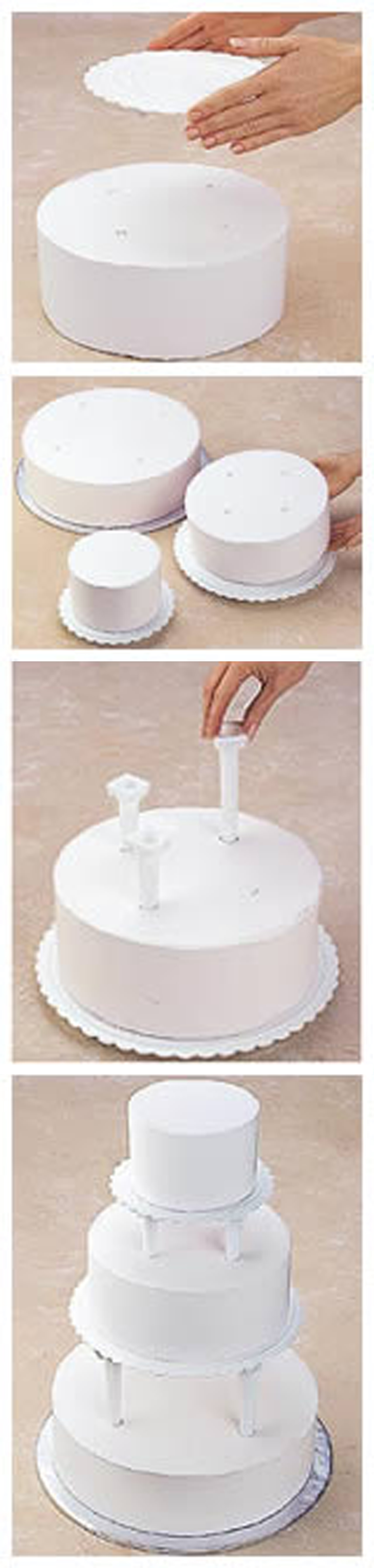Push-in Pillar Cake Construction http://www.wilton.com/cakes/tiered ...
