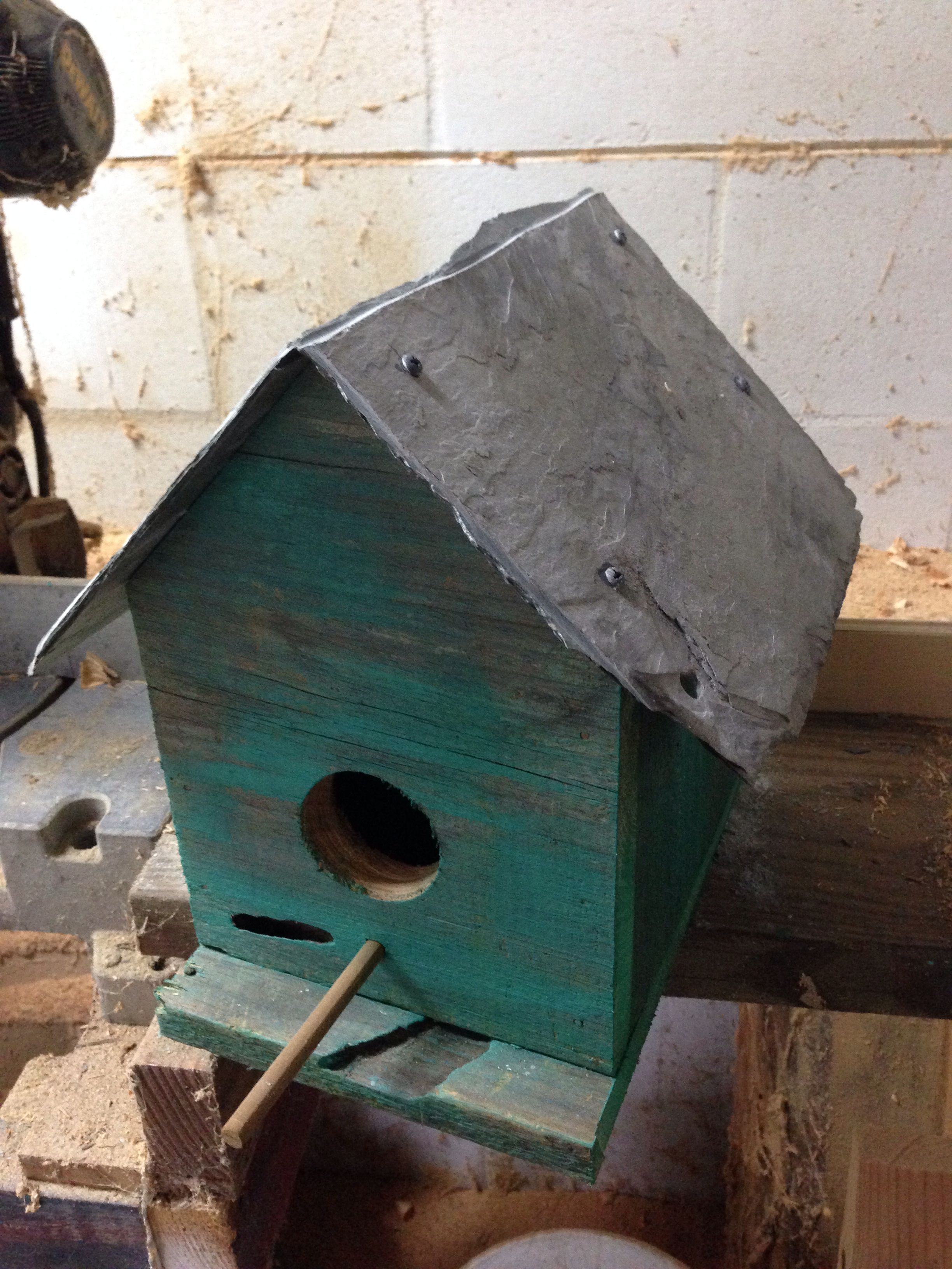 Birdhouse Made From Salvaged Barn Planks And Slate Roofing Tile
