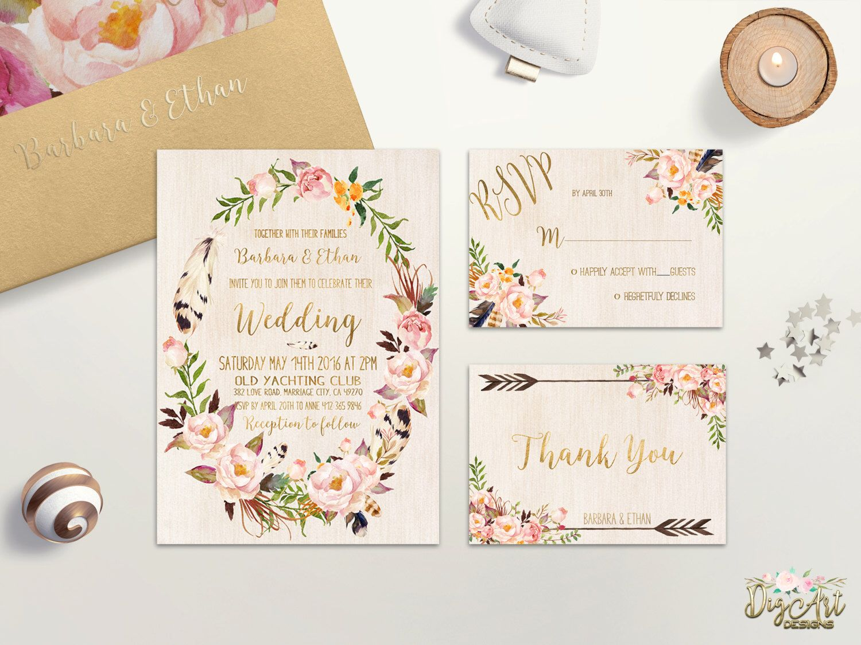 Floral Wedding Invitation Printable Bohemian Wedding Invitation Suite Blush  Pink Gold Wedding Invite Spring Summer Boho