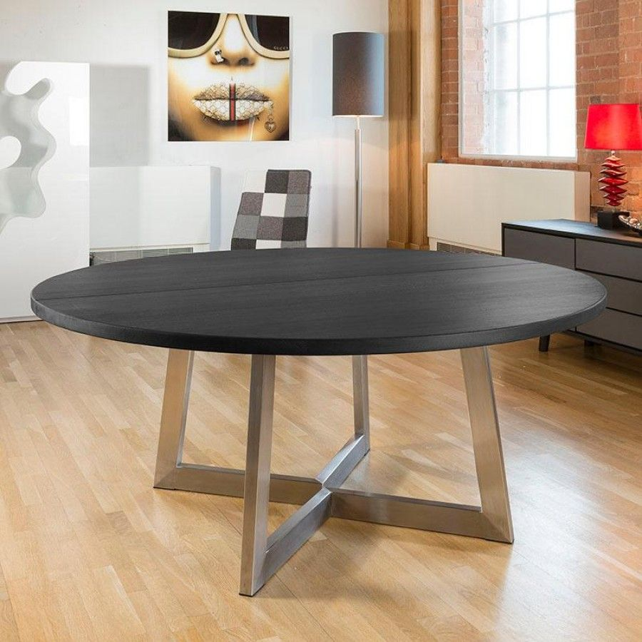 Massive 180cm luxury round dining table oak bespoke colour/size black.  Super high quality