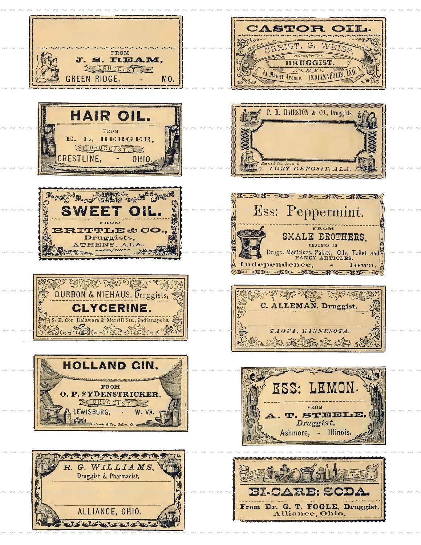 Vintage Medical Labels Number 1 Digital Download Collage Sheet