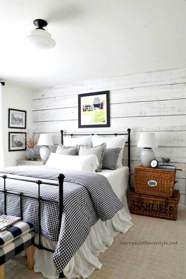 Savvy southern style gingham and ticking farmhouse bedroom without spending  dime also rh ar pinterest