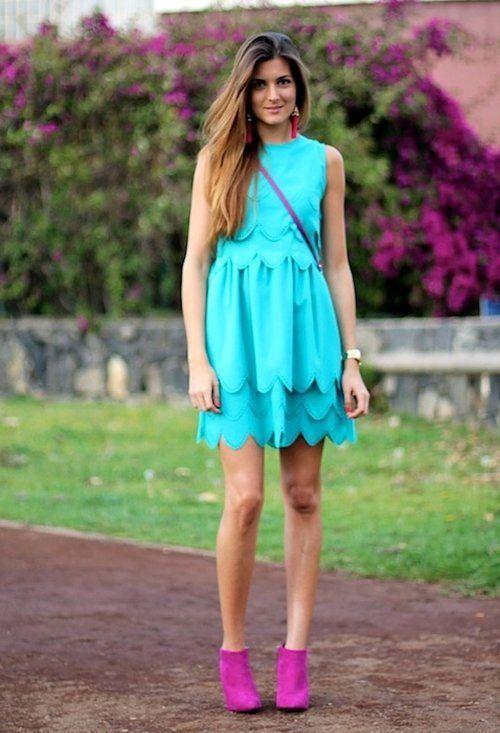 Vestido azul aqua zapatos