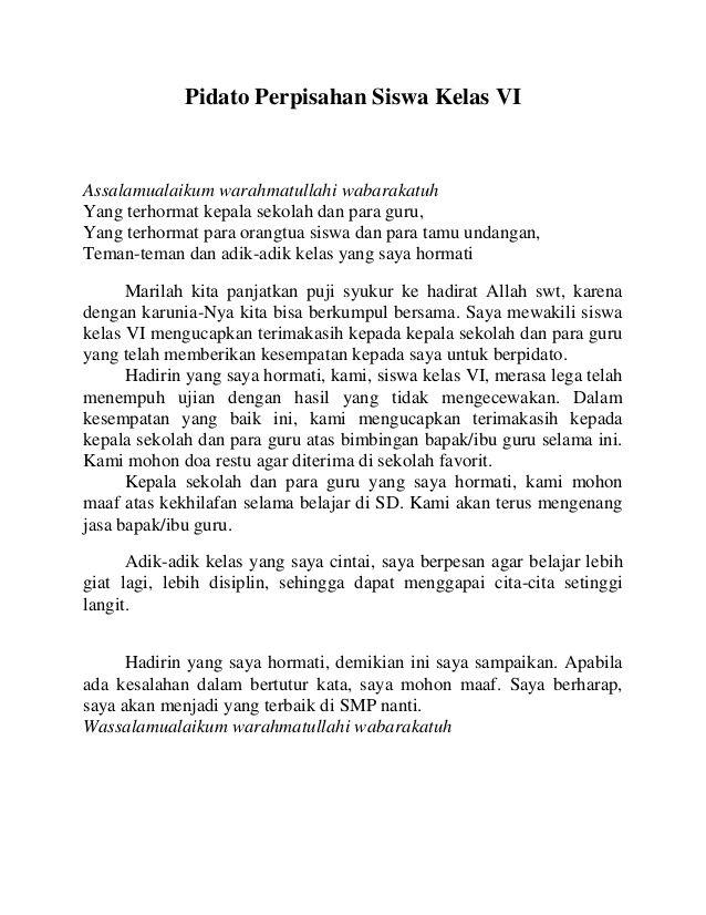 Pidato Perpisahan Kelas 6 Bahasa Indonesia : pidato, perpisahan, kelas, bahasa, indonesia, Perpisahan, Sekolah, Kelas