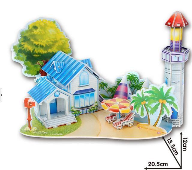 Creative DIY 3D Kids Educational Toys Jigsaw Puzzle For Children House Castle W