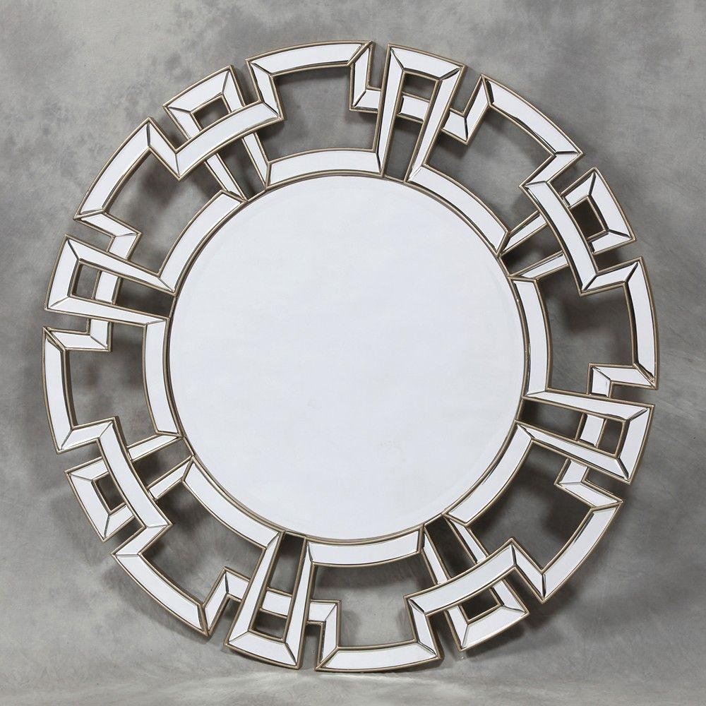 Silver Edged Frame Aztec Venetian Mirror Venetian Wall Mirror Large Round Wall Mirror Round Wall Mirror