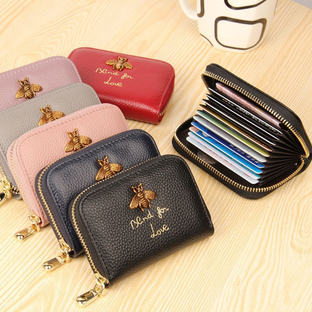 Bee Genuine Leather Women Business Card Holder Wallet Bank Credit ...