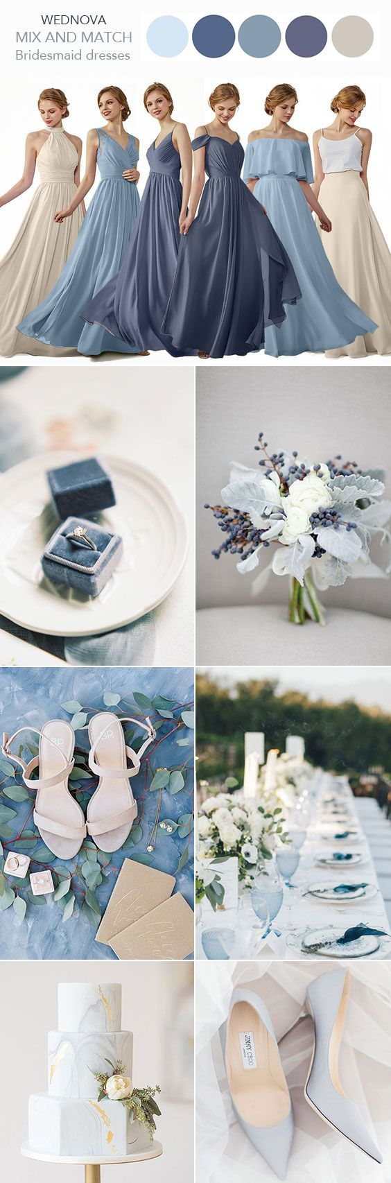 Blue and white wedding decor  Best gray bridesmaid dress v neck dress dusty blue halter white swan