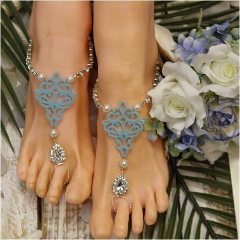 2b7b5907565fd TIFFANY blue barefoot sandals - silver OOAK in 2019