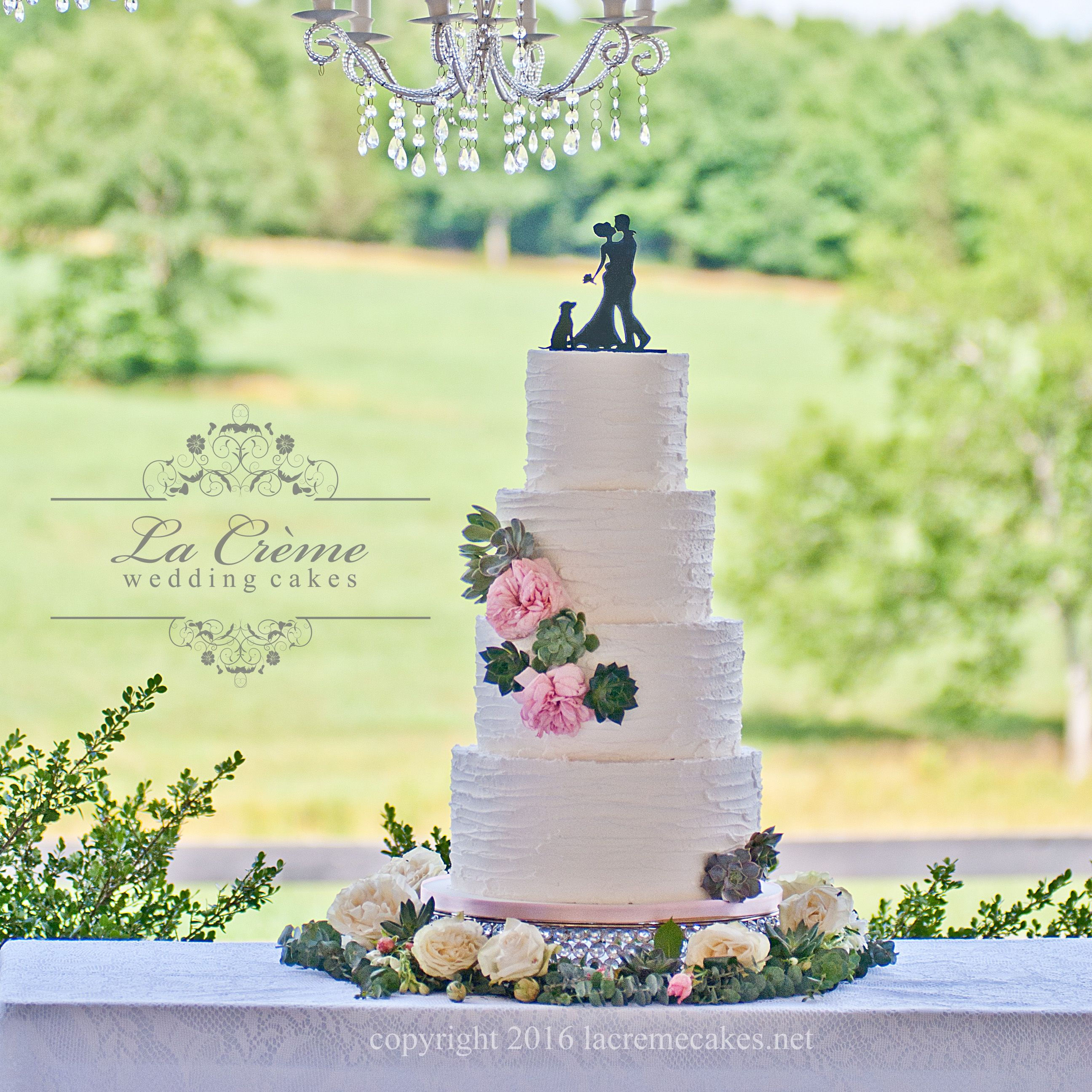 Rustic white wedding cake with roses and succulents by La Crème ...