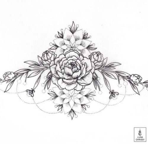 floral sternum tattoo | Tumblr