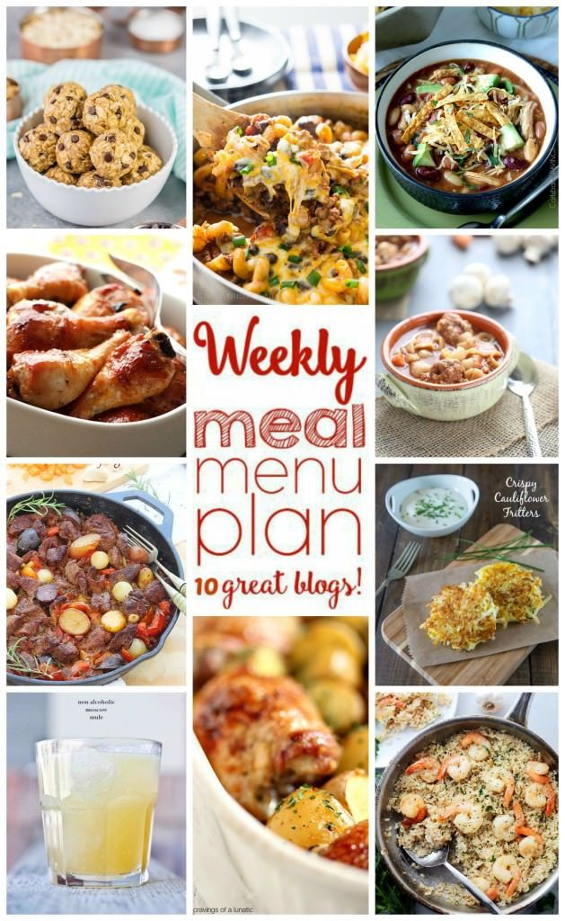 Weekly Meal Plan Week 13 - 10 great bloggers bringing you a full week of recipes including dinner, sides dishes, drinks and desserts! #weeklymealprep