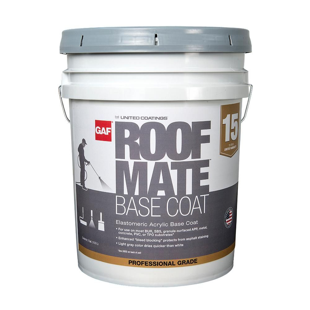 GAF Roof Mate Base Coat 5 Gal. Light Gray Acrylic