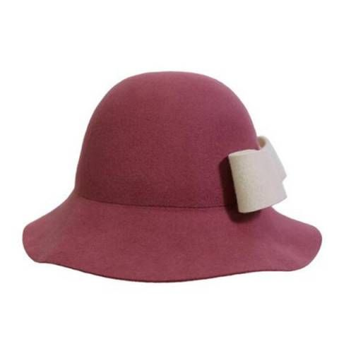 d9d2b388696 Winter felt floppy hat with bow for women wool blend wide brim felt hat