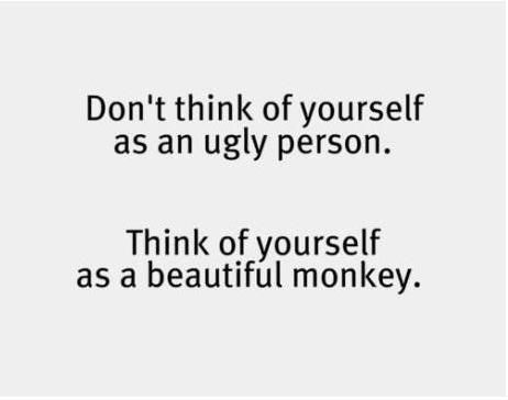 Positive thinking people its important fun funny dont think of yourself as an ugly person you are a beautiful monkey solutioingenieria Choice Image