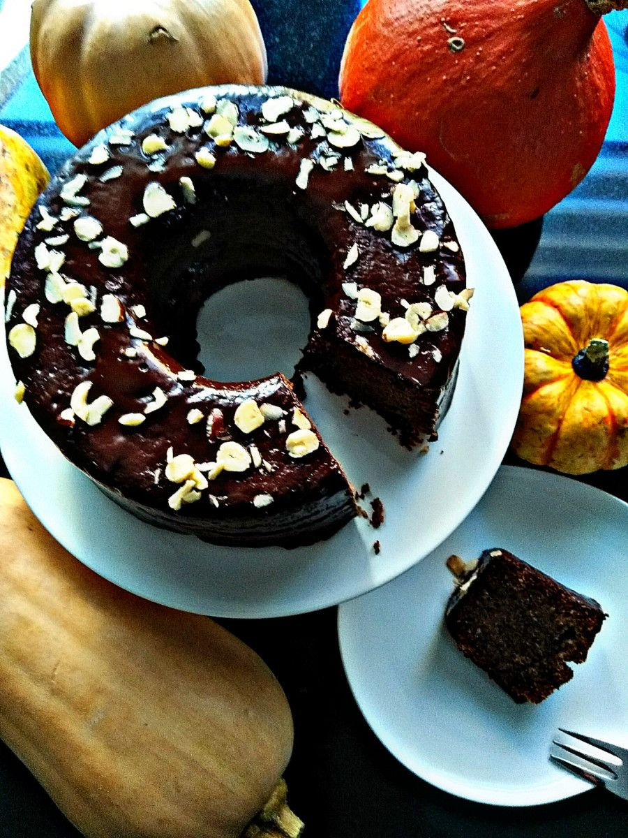 Saftiger Nuss Schoko Kuchen Mit Kurbis Kuchen Schoko Kurbiskuchen