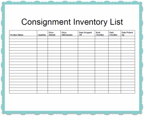 Consignment Inventory Tracking Spreadsheet  Template Business