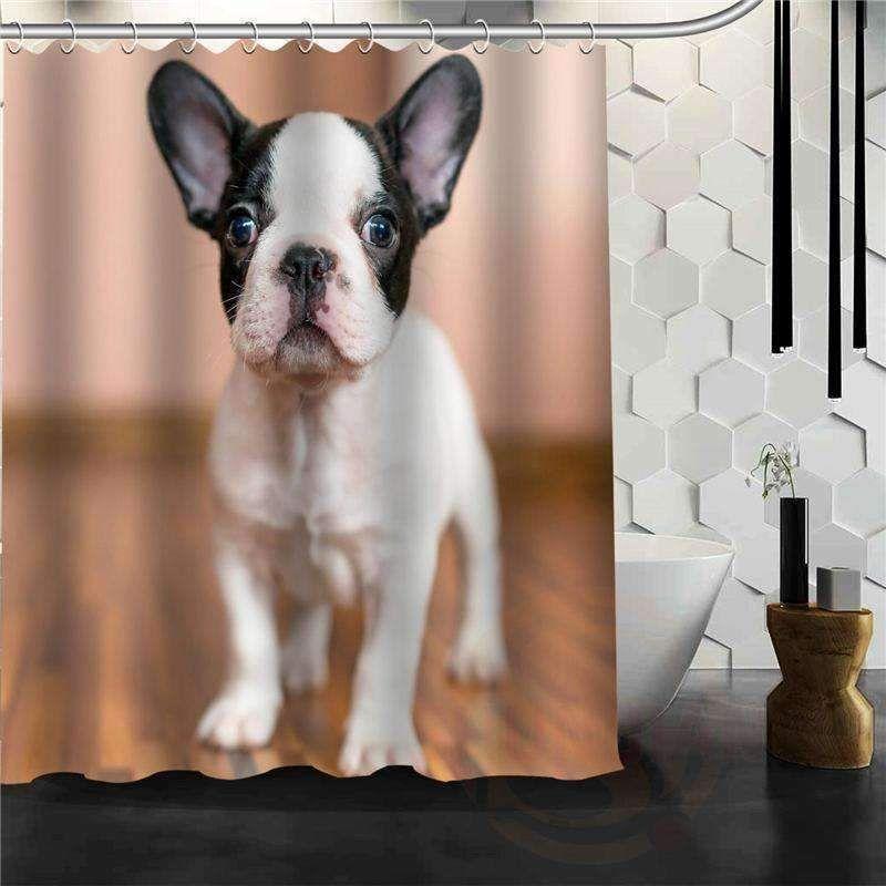 Too Far Bulldog Shower Curtain Puppy Shower Bulldog English