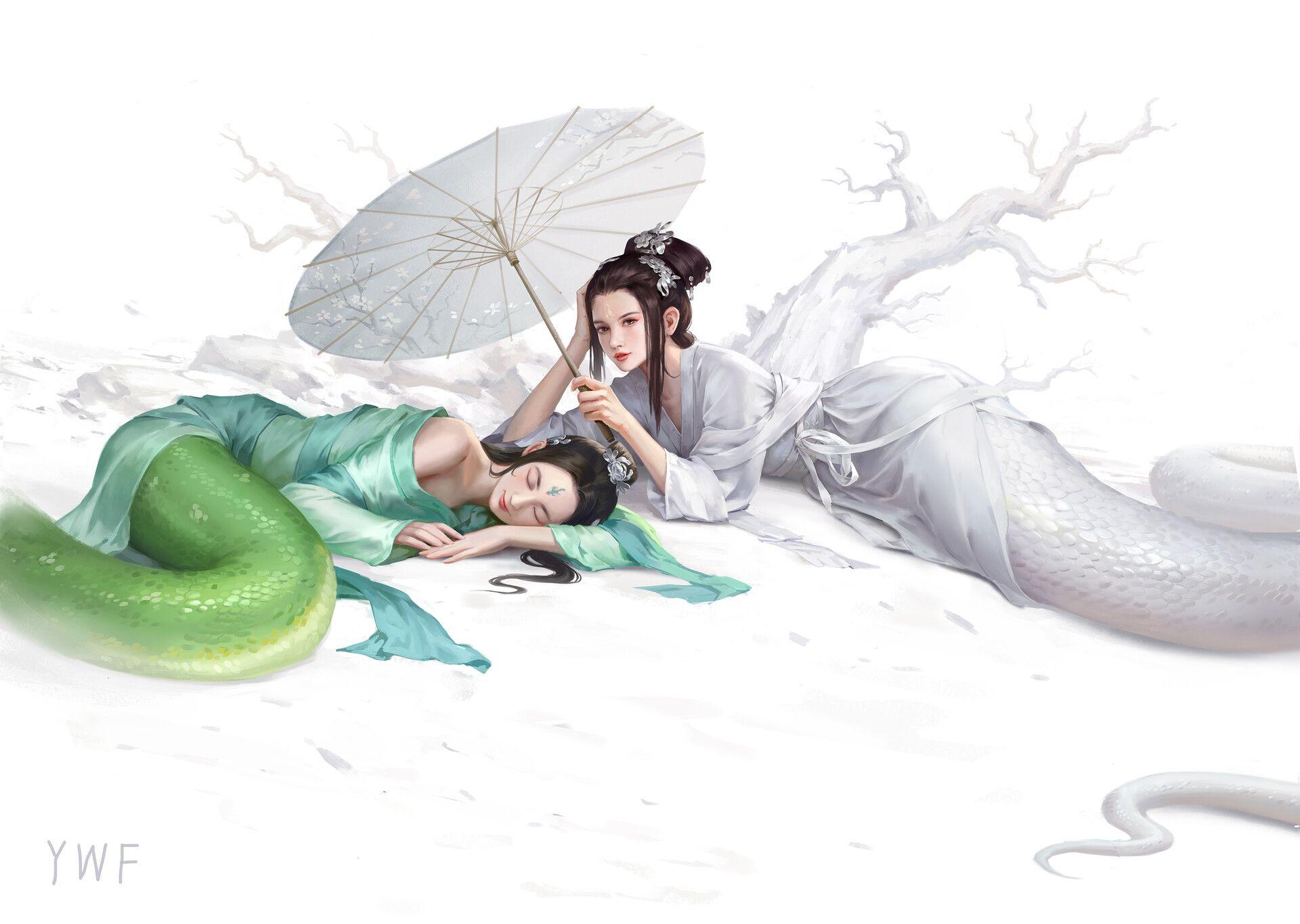 Artstation Madam White Snake Wenfei Ye Anime Snake Snake Art Beautiful Fantasy Art
