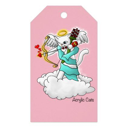 Valentine\'s Day Snow White Cupid Cat Gift Tags