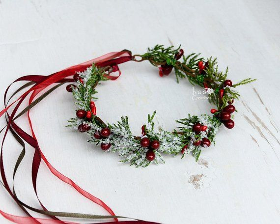 Photo of Winter floral crown for Toddler – Child – Adult Holiday Winter Flower Crown Christmas red berry crown Snowy Halo Photo Prop Winter wedding