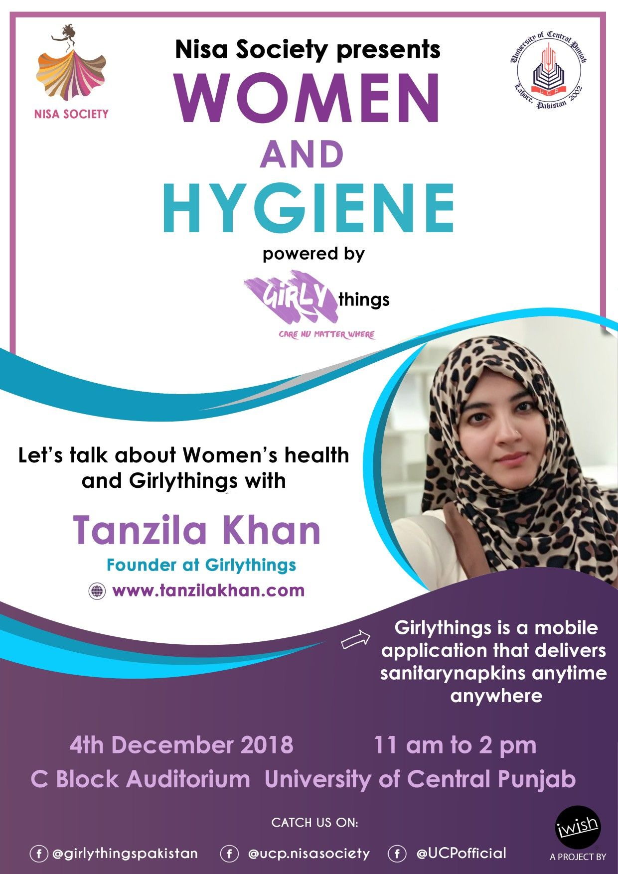 Girlythings panel discussion poster design women hygiene