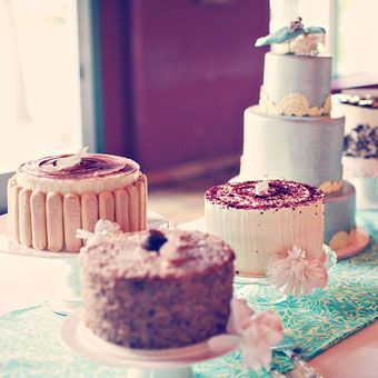 Wedding Cake Table with Various Cakes | Wedding Cake