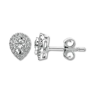 A Round Diamond Sparkles Inside Pear Shaped Halos Of White Gold In Each Of These Elegant Stud Diamond Earrings Studs Ears Diamond Earrings Pear Shaped Earring