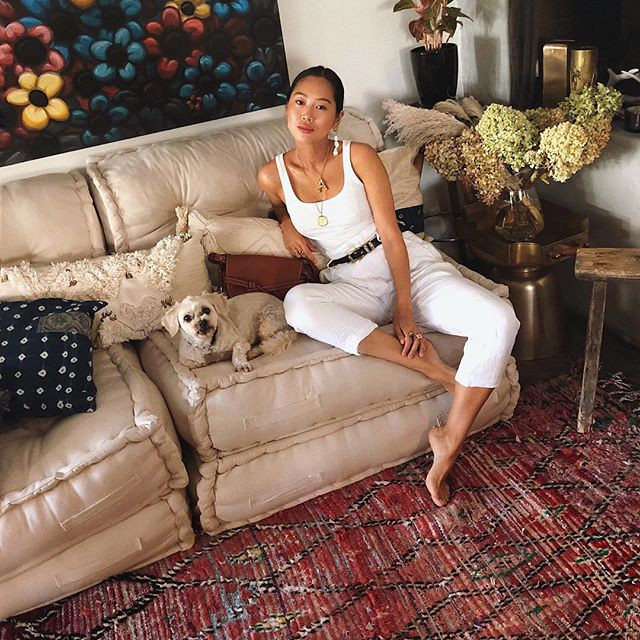 Aimee Song, Back home for a few days. Also moved out of my office and brought this sofa home and I looooove it. I think it might be time for another housetour | Buro 24/7 Singapore