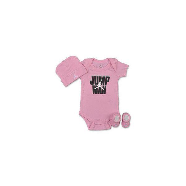 Jordan Infant Onesies Three-Piece Set ($15) ❤ liked on Polyvore