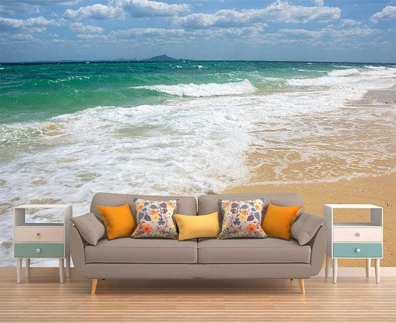 Beach Wall Art Removable Wallpaper Wall Mural Ocean Wall Etsy Beach Wall Art Removable Wallpaper Wall Murals