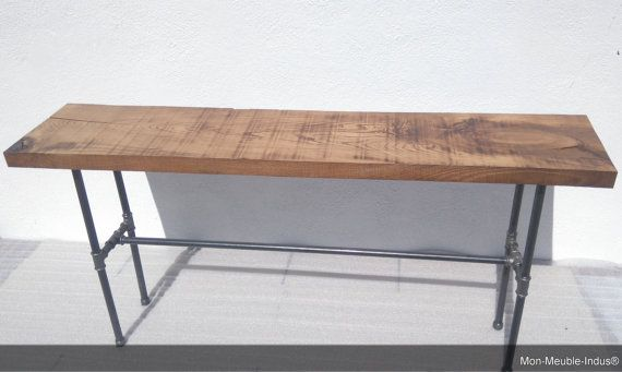 Home-Konsole in Massivholz Modern Vintage Tisch von MonMeubleIndus