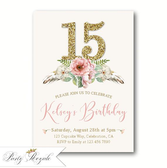 Boho 15th birthday invitations for girls teen birthday party boho 15th birthday invitations for girls teen birthday party filmwisefo