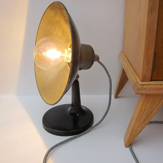 Vintage aeg industrial lamp restored rewired industrial table vintage aeg industrial lamp restored rewired industrial table lamp with silk covered wire greentooth Choice Image