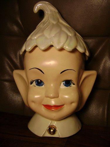 Vintage Pixie Elf Head Cookie Jar Holland Mold Ceramic