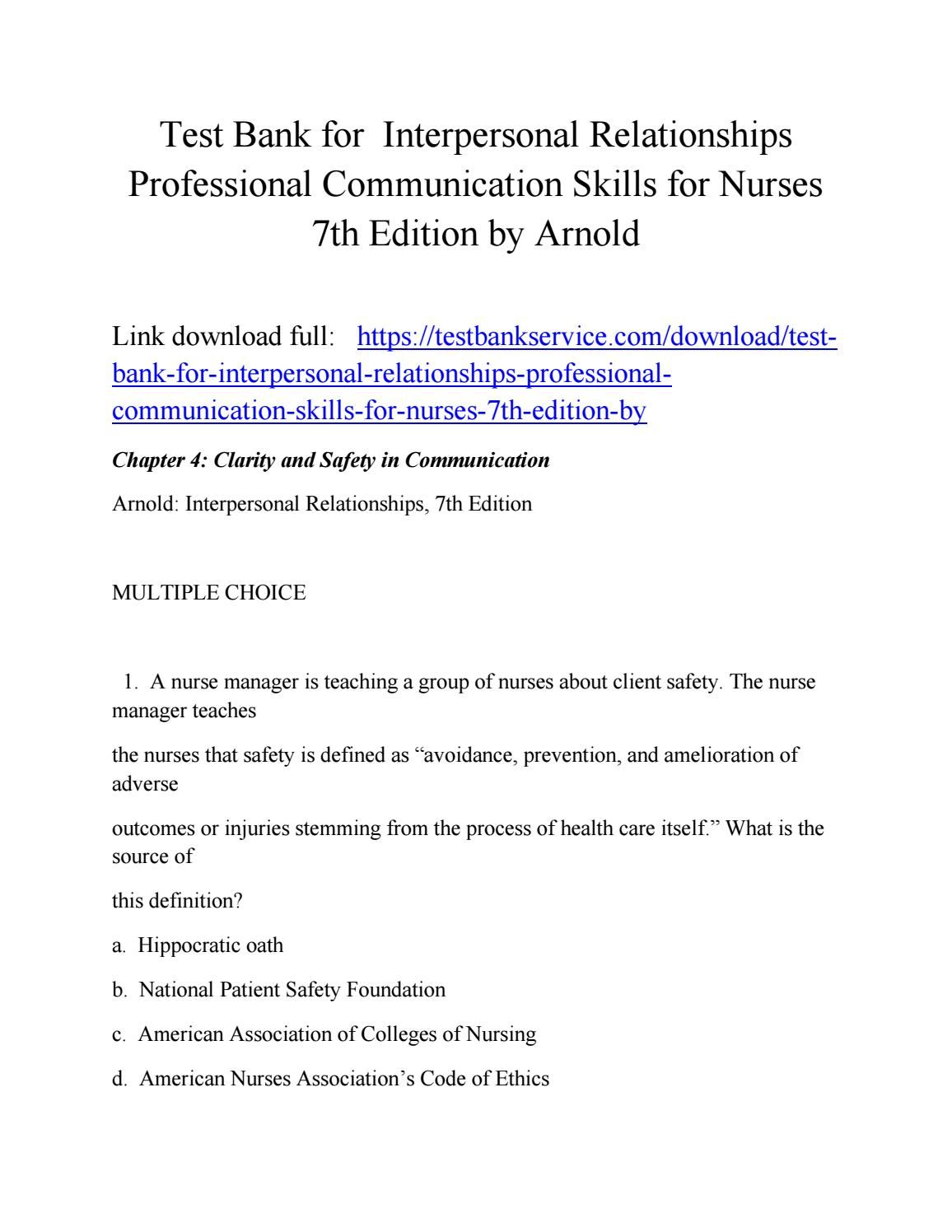 Test bank for interpersonal relationships professional communication skills  for nurses 7th edition b
