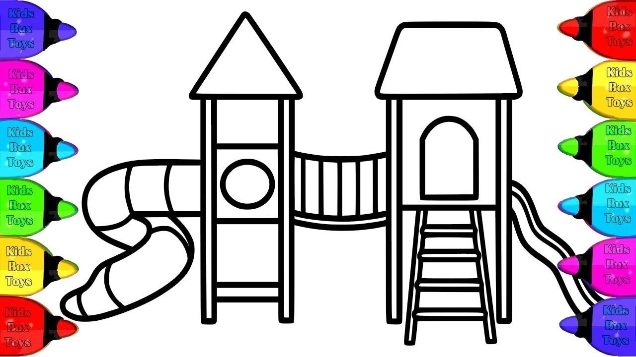 How To Coloring Playground For Kids Playground Slide Coloring