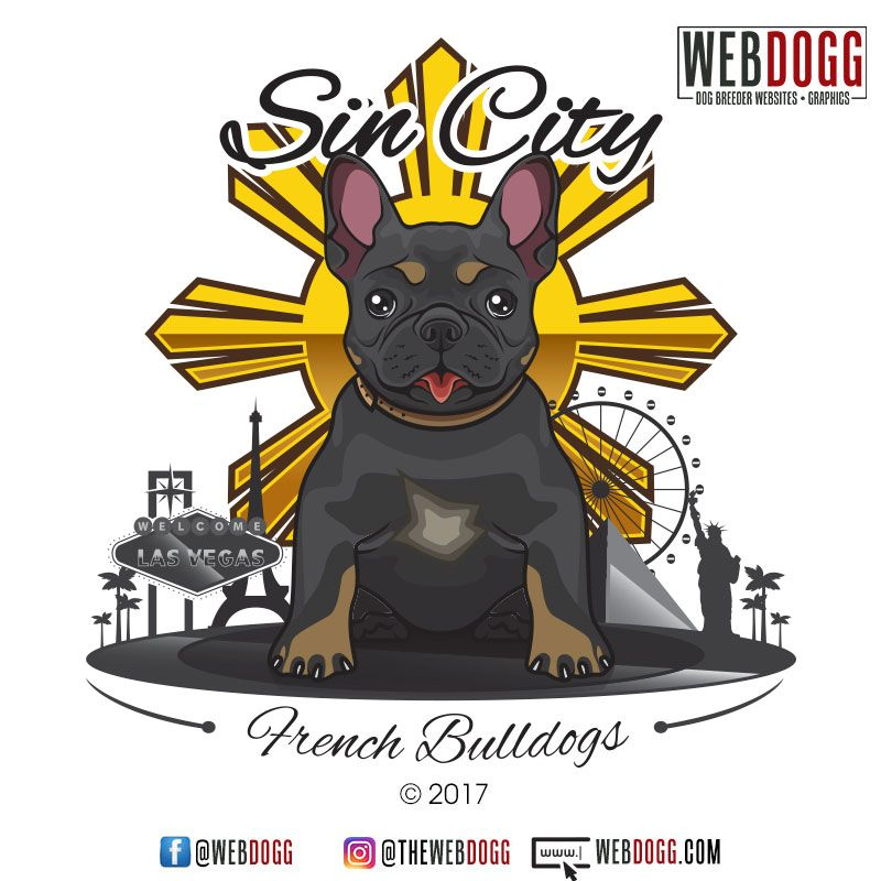 Sin City French Bulldogs Frenchie Dog Breeder Logo Design