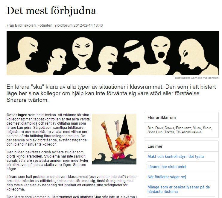 Helene #Lumholdt: Det mest förbjudna inom #skolan http://www.lararnasnyheter.se/bild-skolan/2012/02/14/mest-f-rbjudna