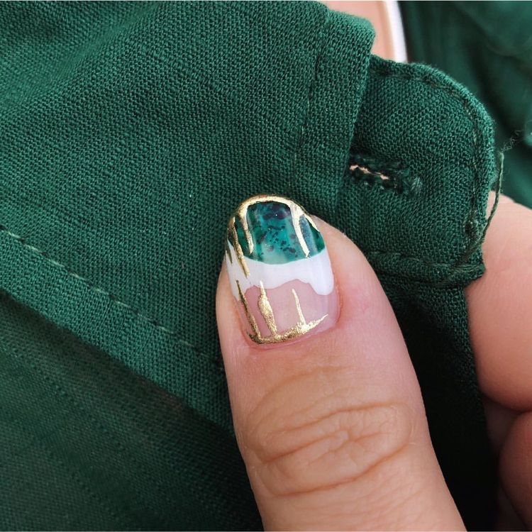 Earthy green, gold frosty nails   Manicure