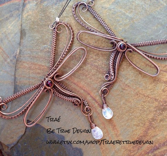Dragonfly Copper Wire Weave With Moonstone. Made To Order ...
